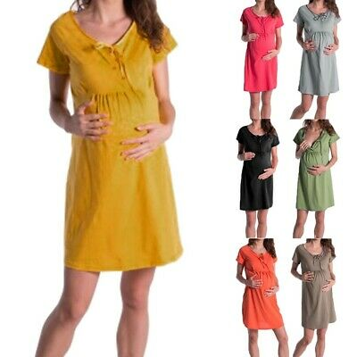 Pregnant Women Maternity Leisure Short Sleeve Dress Breastfeeding Loose Dress