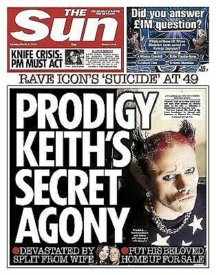 UK THE SUN NEWSPAPER 5th March 2019:PRODIGY KEITH FLINT TRIBUTE