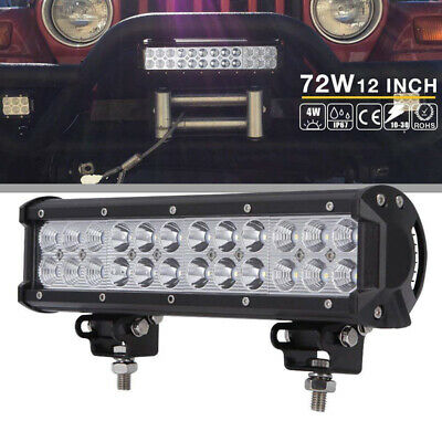 12inch 72W CREE LED Work Light Bar 4WD Row Offroad Spot Fog ATV SUV Driving Lamp