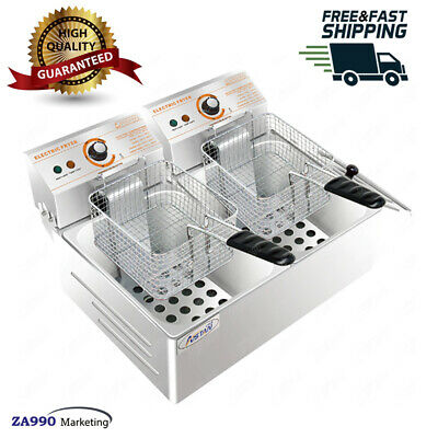 12L Commercial Deep Fryer Electric - Double Basket - Stainless Steel - NEW