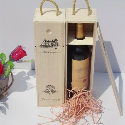 Retro Red Wine Box Portable Gift Pine Wood Wine Storage Box Wine Bottle Case