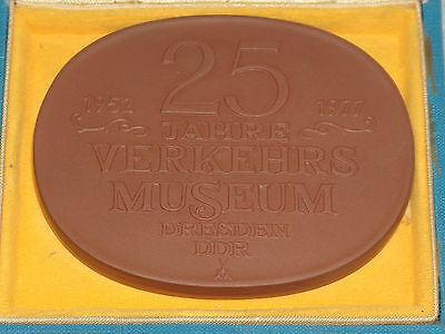 Vintage Anniversary Large Meissen Plaque In A Box - Transport Museum, Ddr, 1977