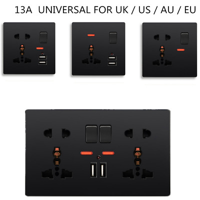 2 Way UK US AU Mains Power Socket USB Charging Ports Connection Wall Plate Plug