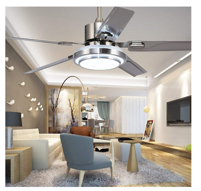 Stainless Steel 5 Blades Ceiling Fan Light w/ Three-Color Change LED Remote