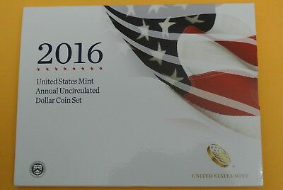2016 Annual Uncirculated Dollar Coin Set w/ Burnished W Silver Eagle