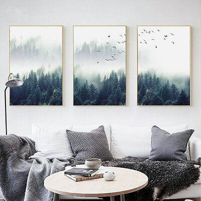 ALS_ Nordic Foggy Forest Birds Unframed Canvas Painting Wall Bedroom Home Decor