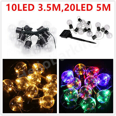 Solar Powered 10/20 LED Retro Bulb String Lights Outdoor Garden Fairy Lamps UK