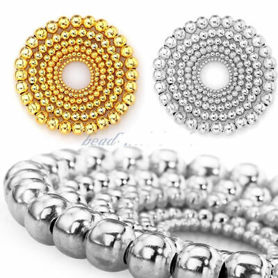 New Fashion Silver/Gold Plated Round Spacer Smooth Loose Beads Charms Findings