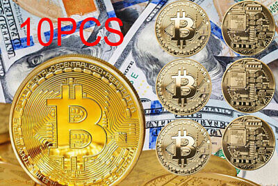 10Pcs Bitcoin Gold Plated Physical Commemorative Collector Gift Virtual Coin USA