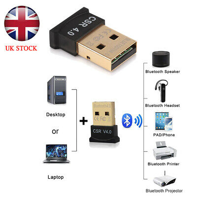 UK Wireless USB Bluetooth V4.0 CSR Dongle Adapter for Windows 7 8 10 PC Laptop