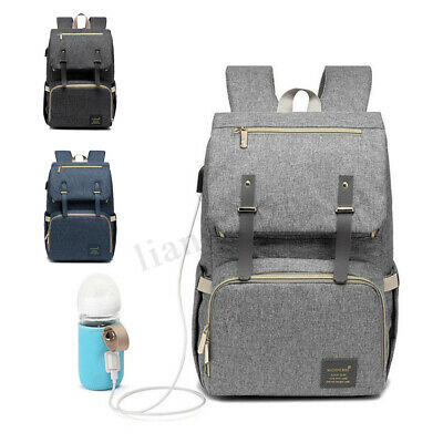 Large USB Heating Mummy Backpack Waterproof Baby Nappy Diaper Bag Travel Tote