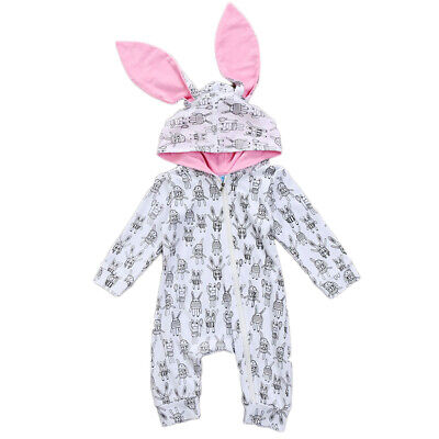 AU Easter Newborn Baby Girl Boy Bunny Ears Hoodie Romper Jumpsuit Clothes Outfit