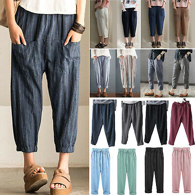 Plus Size Womens Elastic Waisted Loose Pockets 3/4 Length Harem Pants Trousers