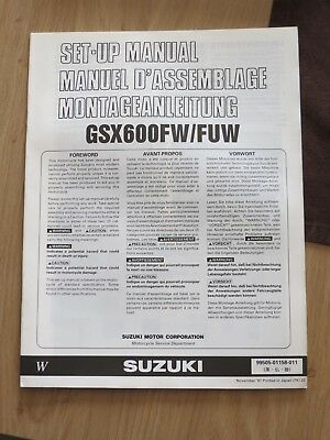 Original factory Set-up Manual Suzuki GSX600 F W / F U W Nov 1997