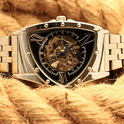 Business Men Mechanical Watch Big Triangle Dial Automatic Stainless Steel Luxury