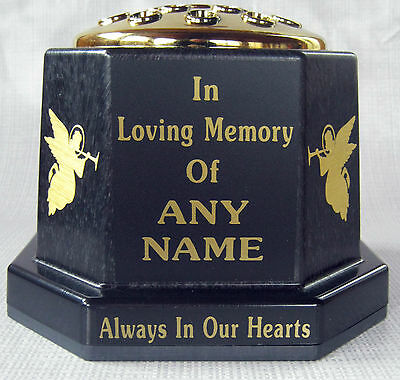 Memorial Pot Grave Cemetery Black Gold Lid Angels Personalised Any Name Made UK