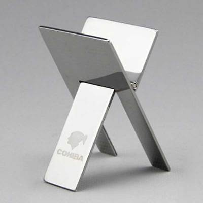 Silver Stainless Steel Foldable Cigar Stand Ashtray Holder Portable