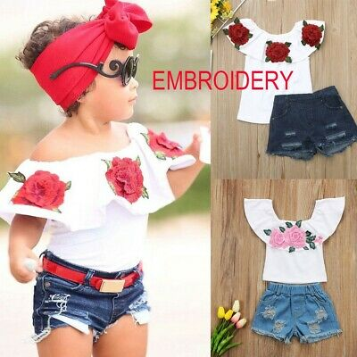 Toddler Kid Baby Girls Outfits Embroidery Rose Tops Shirt Denim Shorts Pants