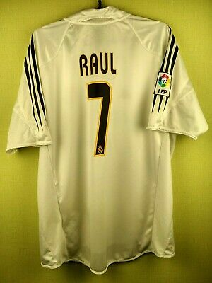 sale retailer 5b5be 7ec2e RAUL REAL MADRID jersey large 2004 2005 home shirt Adidas football soccer  white