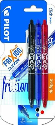Pilot FriXion Clicker Retractable Erasable Rollerball 0.7 mm Tip - Pack of 3