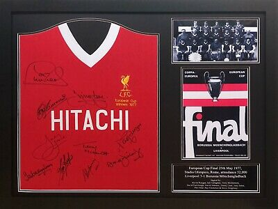Framed 1977 European Cup Liverpool Multi Signed By 10 Football Shirt  Coa Proof