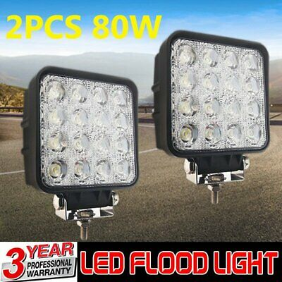 2x Square 80W LED Work Light Flood Lamp Offroad Tractor Truck 4WD SUV 12V 24V BO