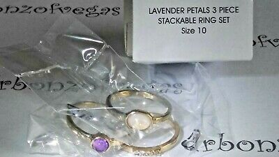 Avon Lavender Petals 3 piece Stackable Ring Set size 10 new in box