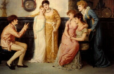 Simeon Solomon A Youth Relating Tales to Ladies Giclee Canvas Print Poster