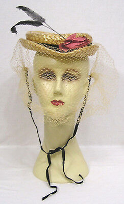 8a24014b29d Vintage Ladies Hat Cellophane Straw Feather Quills Pink Rose Veiling WOW!
