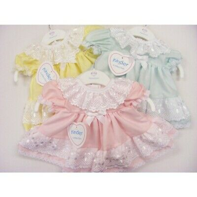 Baby Girls Traditional Spanish Style Broderie Anglaise Frills Pastel Bow Dress