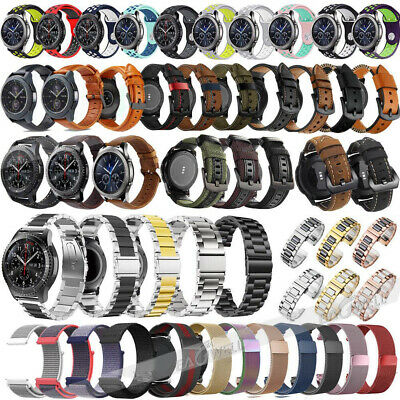For Samsung Galaxy Watch 42 46mm Active Genuine Leather Stainless Steel Band HOT