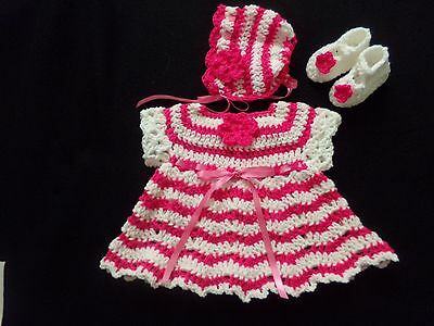 75ff2154faf crochet Deep pink and-white baby girl dress bonnet and shoes handmade 3-6