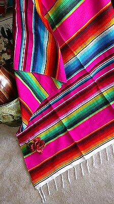 "Mexican Serape Blanket Pink,Fuchsia and Rainbow Striped EXTRA LARGE 84"" X 60"""