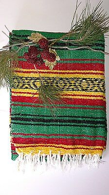 "Mexican Falsa Blanket RASTA Black Aztec Lines with white fringe ""YOGA MAT"""