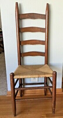 Mid Century Modern Vintage Gio Ponti Style Ladder Back Chair Woven Dining