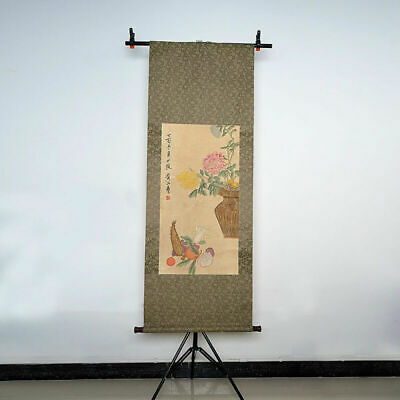 """Traditional Chinese Chrysanthemums Long Scroll Painting """"黄山寿"""" Marks"""