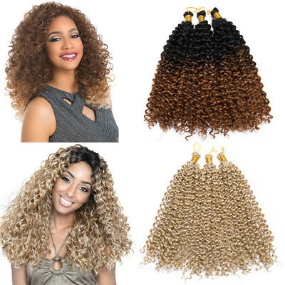 Natural Water Wave Crochet Braids Long Deep Curly 10% Human Hair Extensions US