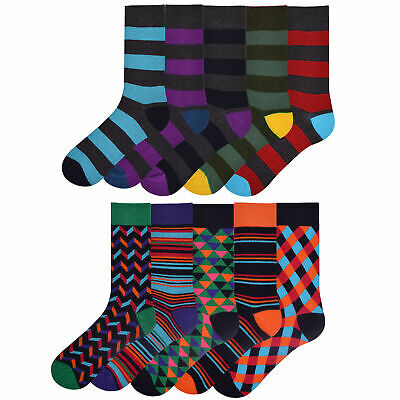 Mens 5 Pack Funky Design Socks Bright Cotton Rich Coloured Stripes Size 6-11