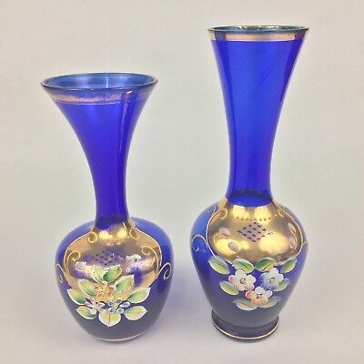 """Czech Bohemian Cobalt Blue Gold Hand-Painted Floral TWO (2) 6"""" & 7""""  Vases"""