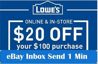 3x THREE Lowes $20 OFF $100Coupons-InStore and Online -Fast-1-min-SEND--