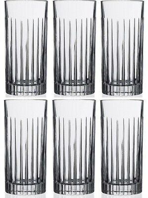 RCR CRYSTAL TIMELESS 6 HI BALL TUMBLERS (BOXED) NEW (Like Royal Doulton Linear)