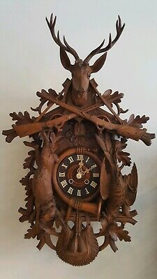 Beautiful  large  8 day fusee antique black forest cuckoo clock from Germany
