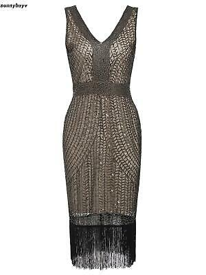 Women 1920's Vintage Style Plaid Sequin V Neck Fringe Flapper Party Dress RR3