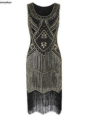 Women 1920's Vintage Style Print Sequin O Neck Fringe Flapper Party Dress RR3