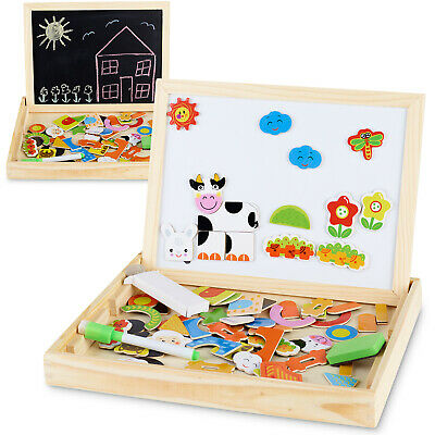 Magnetic Jigsaw Puzzle Drawing Board Wooden Game Educational Toys for Children
