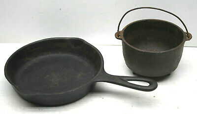 "2pc Wagner Ware 6.5"" Cast Iron Skillet+3""x4"" Kettle Rare Miniatures Cooking"