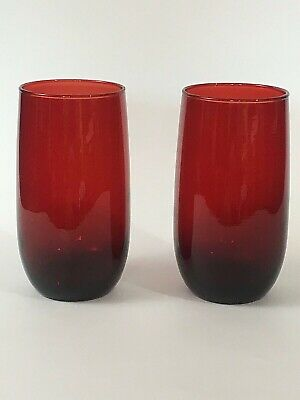Anchor Hocking Royal Ruby Roly Poly Vintage Red Iced Tea Tumbler Glass Lot 2  KD