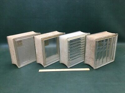 "Lot of 4 Vintage Insulux Architectural Glass Blocks 7 5/8"" Square Mixed Patterns"