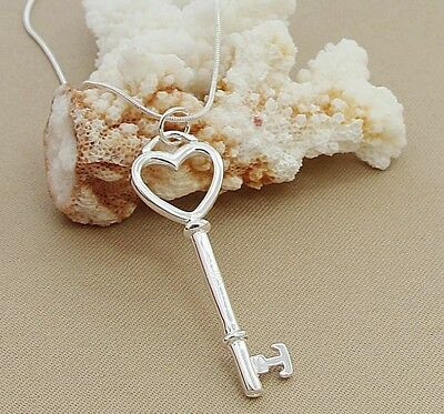 925 Sterling Silver Fashion Jewelry Heart & Key Pendant & Necklace 18,20,22 in.