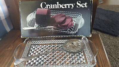 Vintage 1978 Leonard Crystal Cranberry Server Set,Silver Plated Spoon in Box
